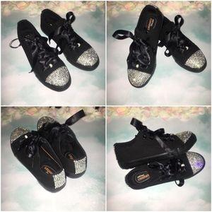 Black Canvas Sneakers  Rhinestones & Ribbons 7